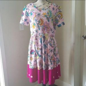 Lularoe Pink Floral Polkadot Dress Size 2XL